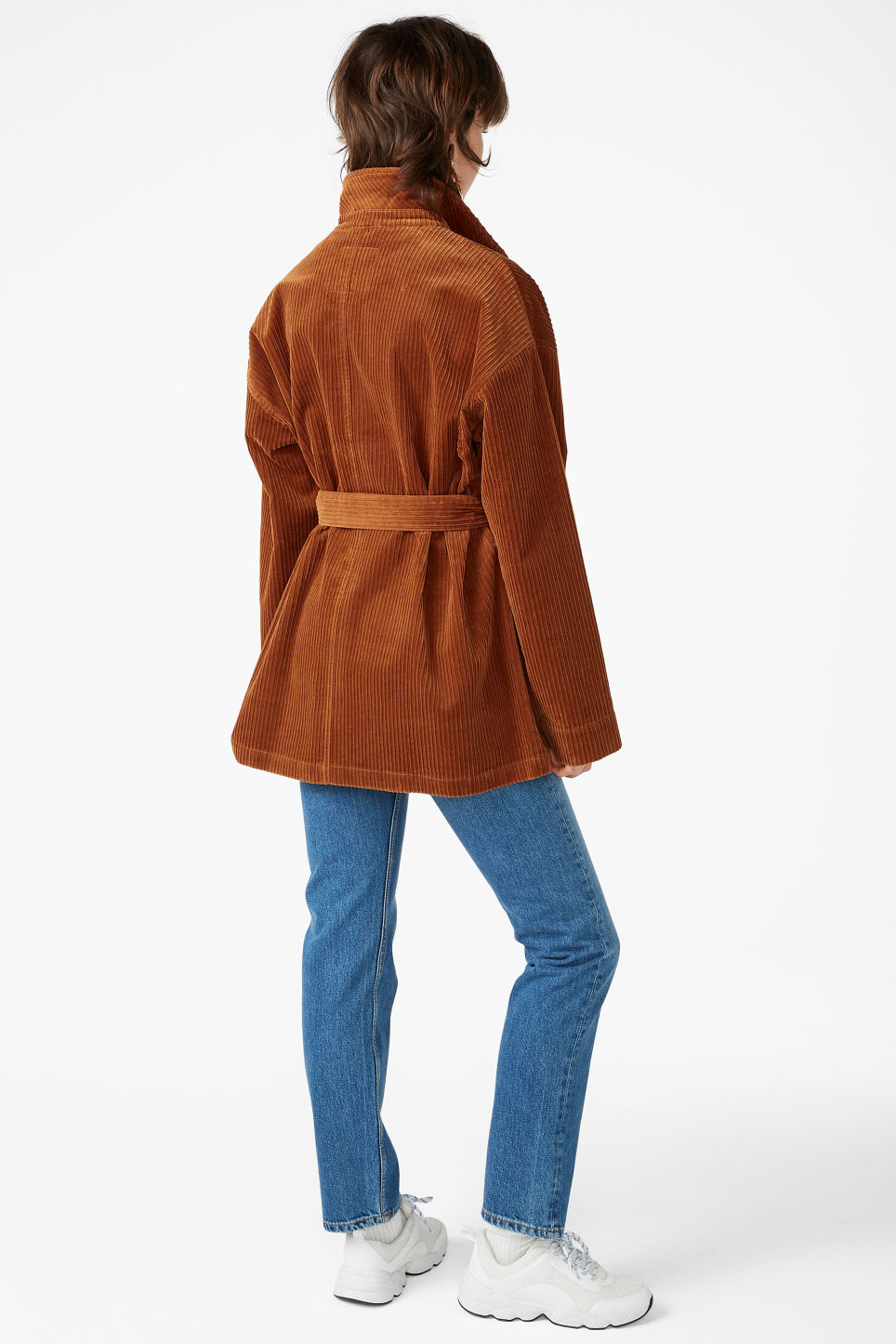 Model back image of Monki belted corduroy jacket in brown
