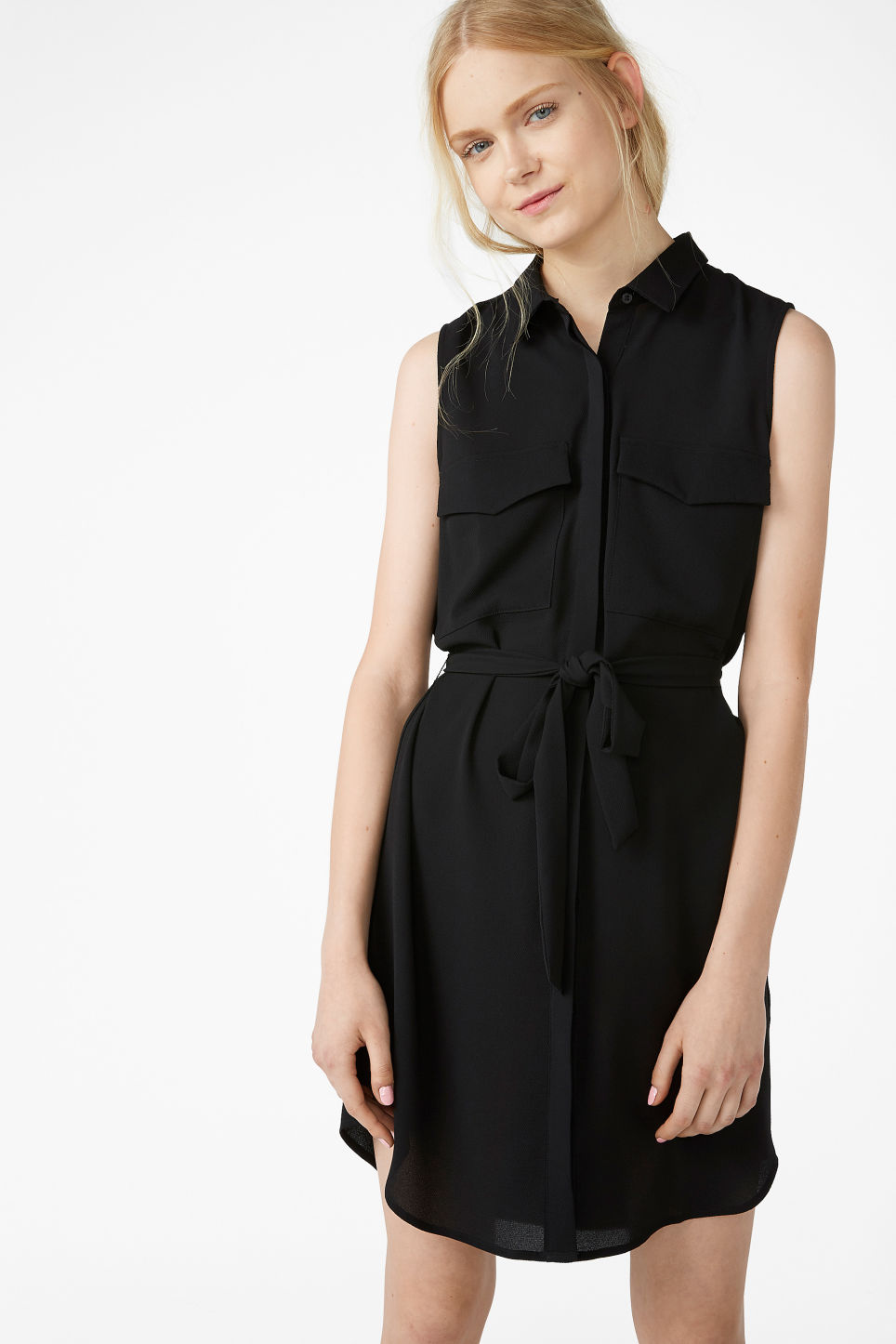 Model front image of Monki sleeveless shirtdress  in black