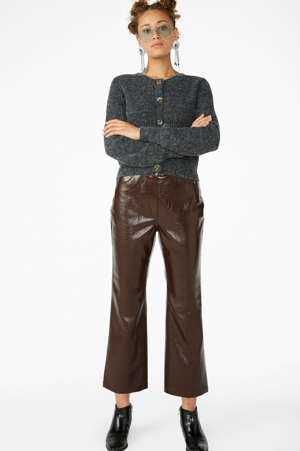 Model front image of Monki faux patent leather trousers in brown