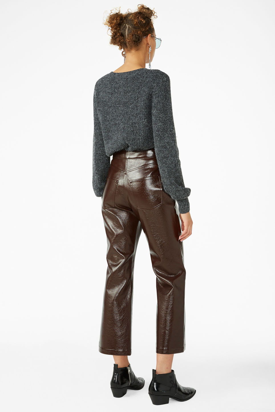 Model back image of Monki faux patent leather trousers in brown