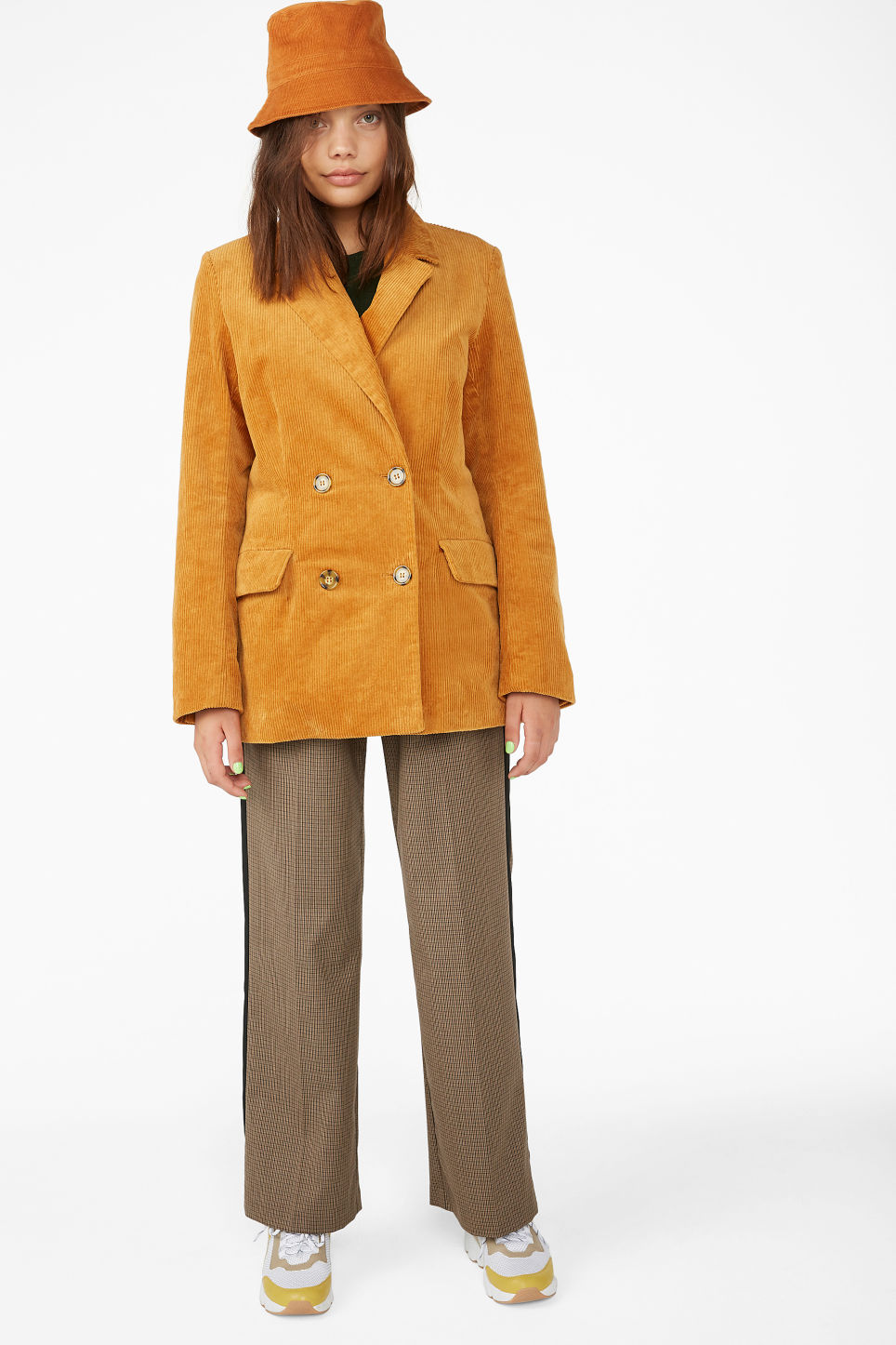 Model front image of Monki corduroy blazer in yellow