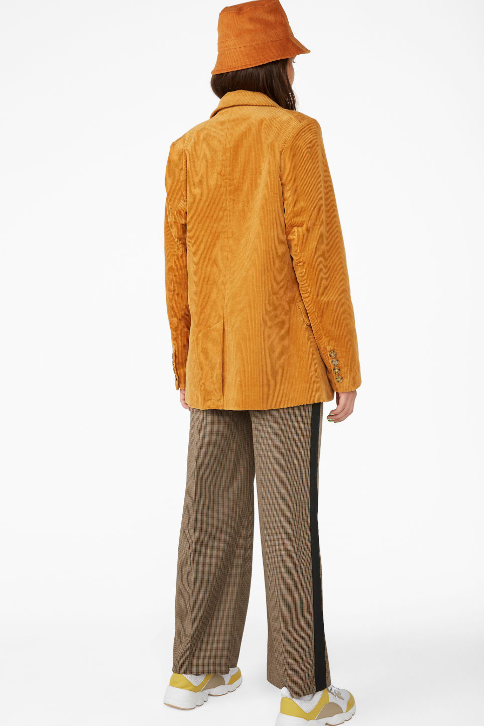 Model back image of Monki corduroy blazer in yellow