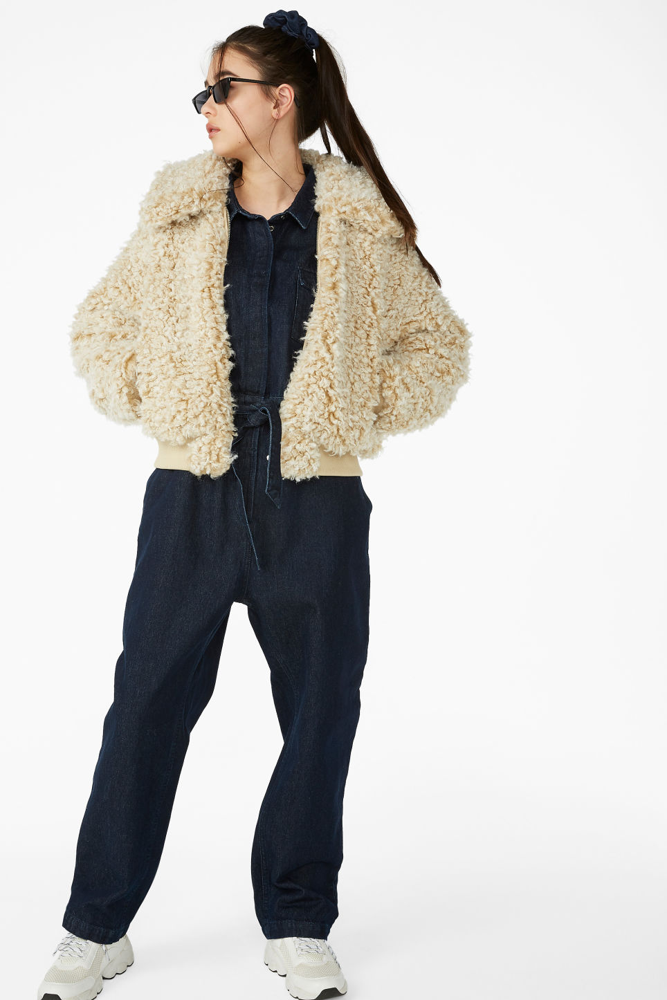 Model front image of Monki faux fur jacket in beige