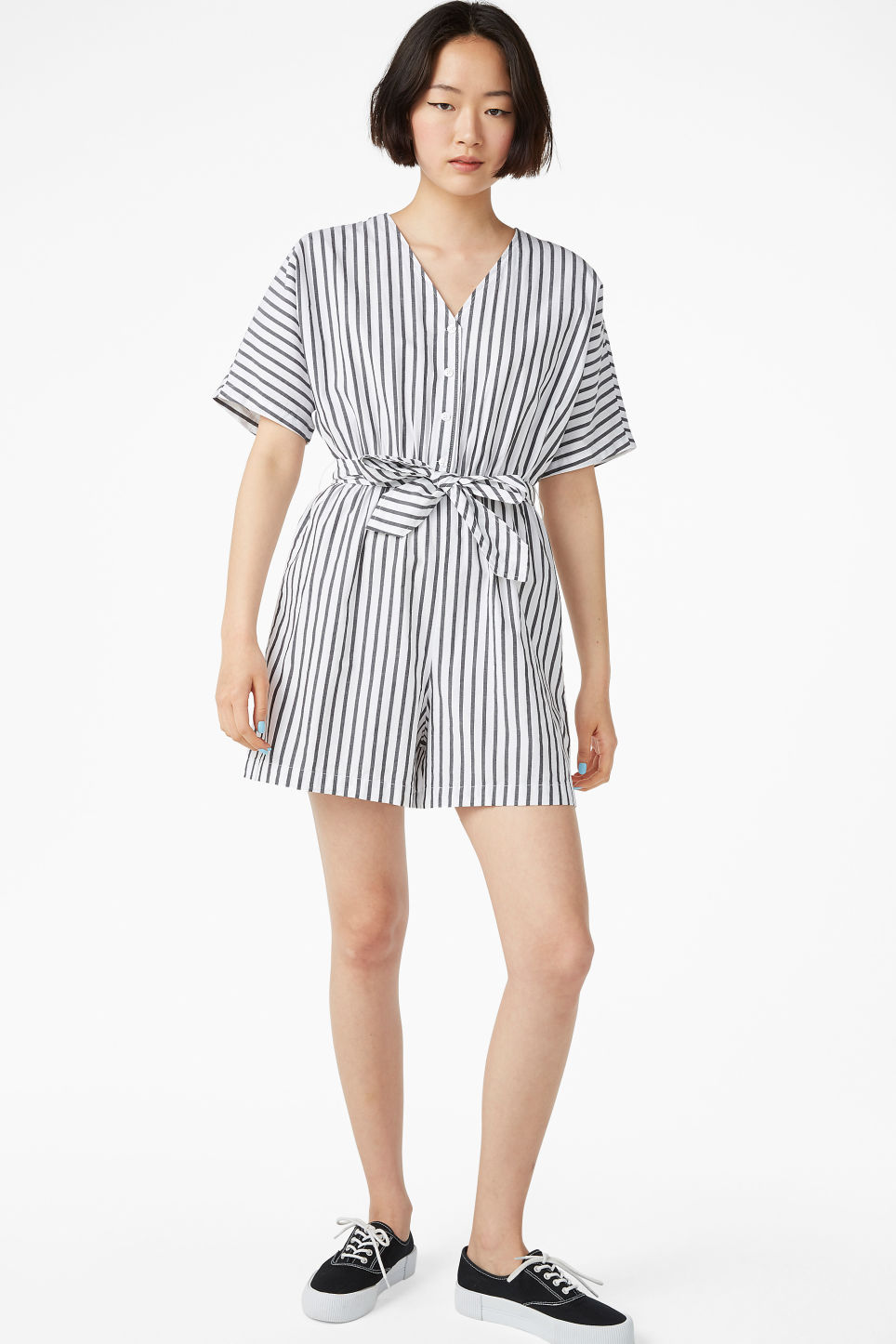Model front image of Monki v-necked playsuit in black