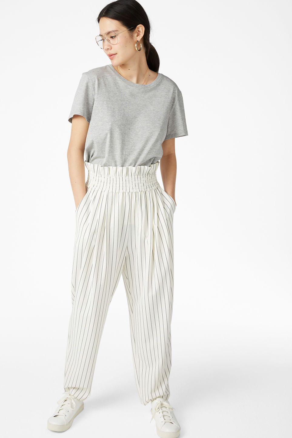 Model front image of Monki wide leg trousers in white