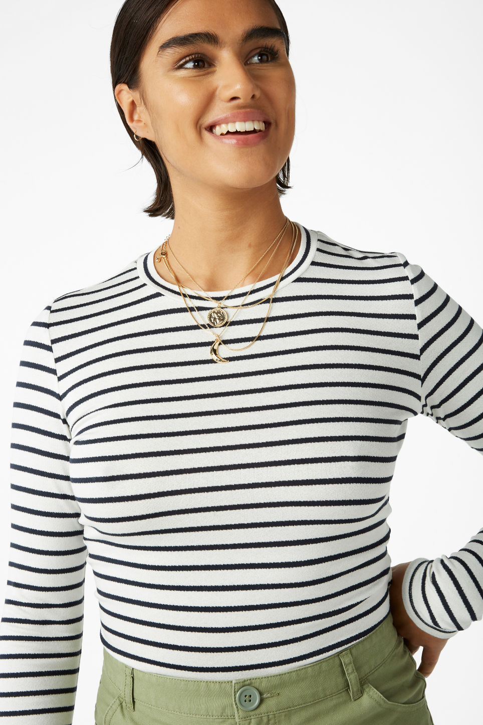 Model front image of Monki long-sleeved top in white