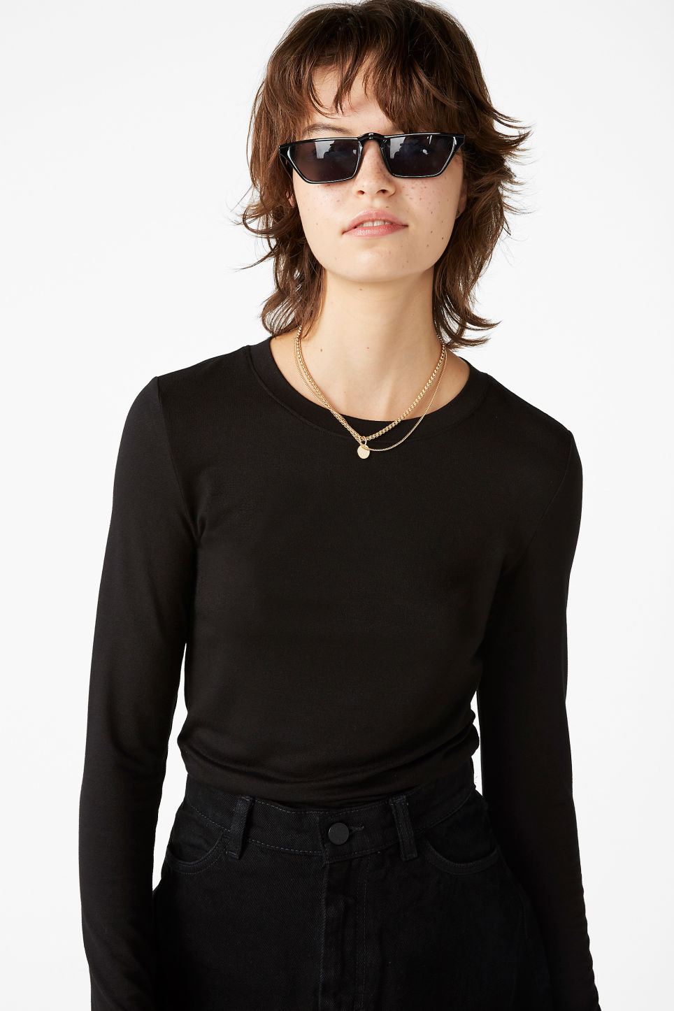 Model front image of Monki fitted long-sleeved top in black