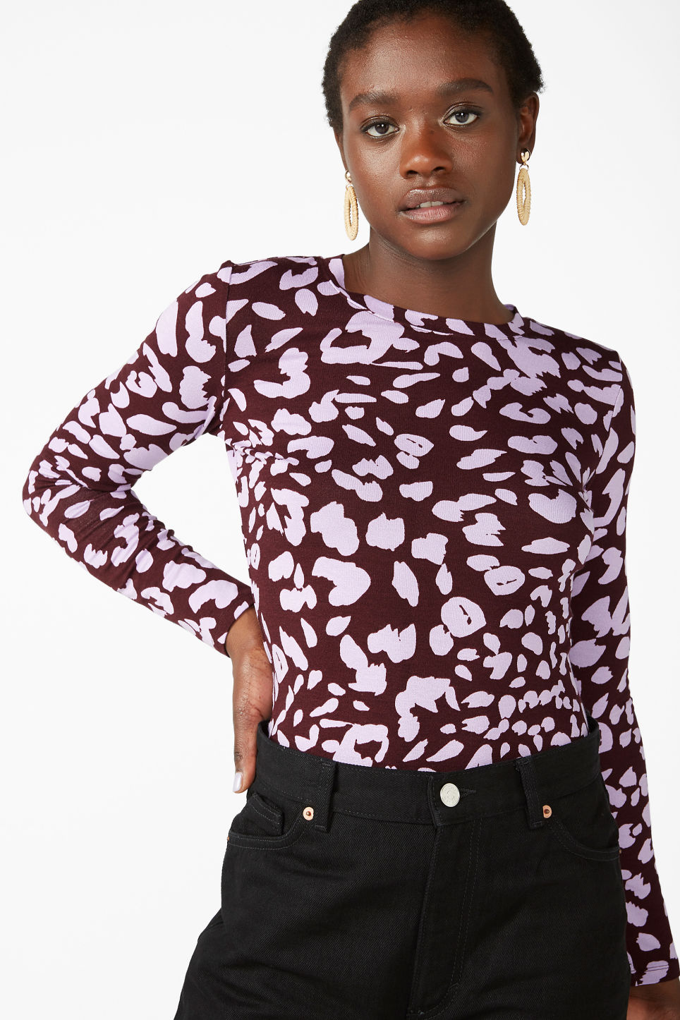 Model front image of Monki fitted long-sleeved top in red