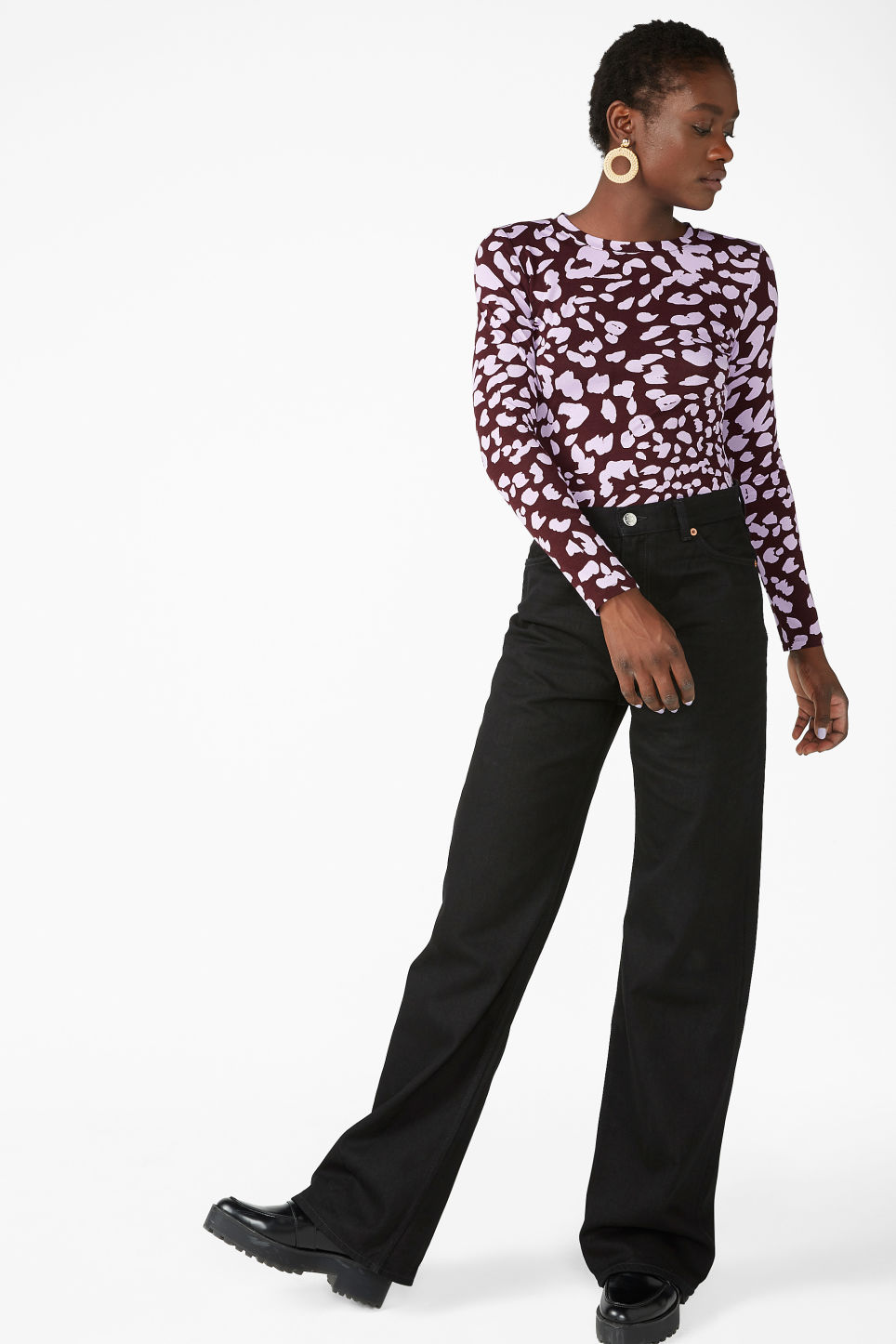 Model side image of Monki fitted long-sleeved top in red