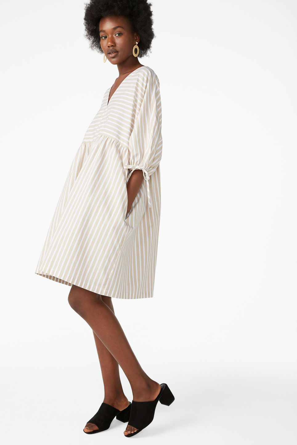 Model front image of Monki tunic dress in beige