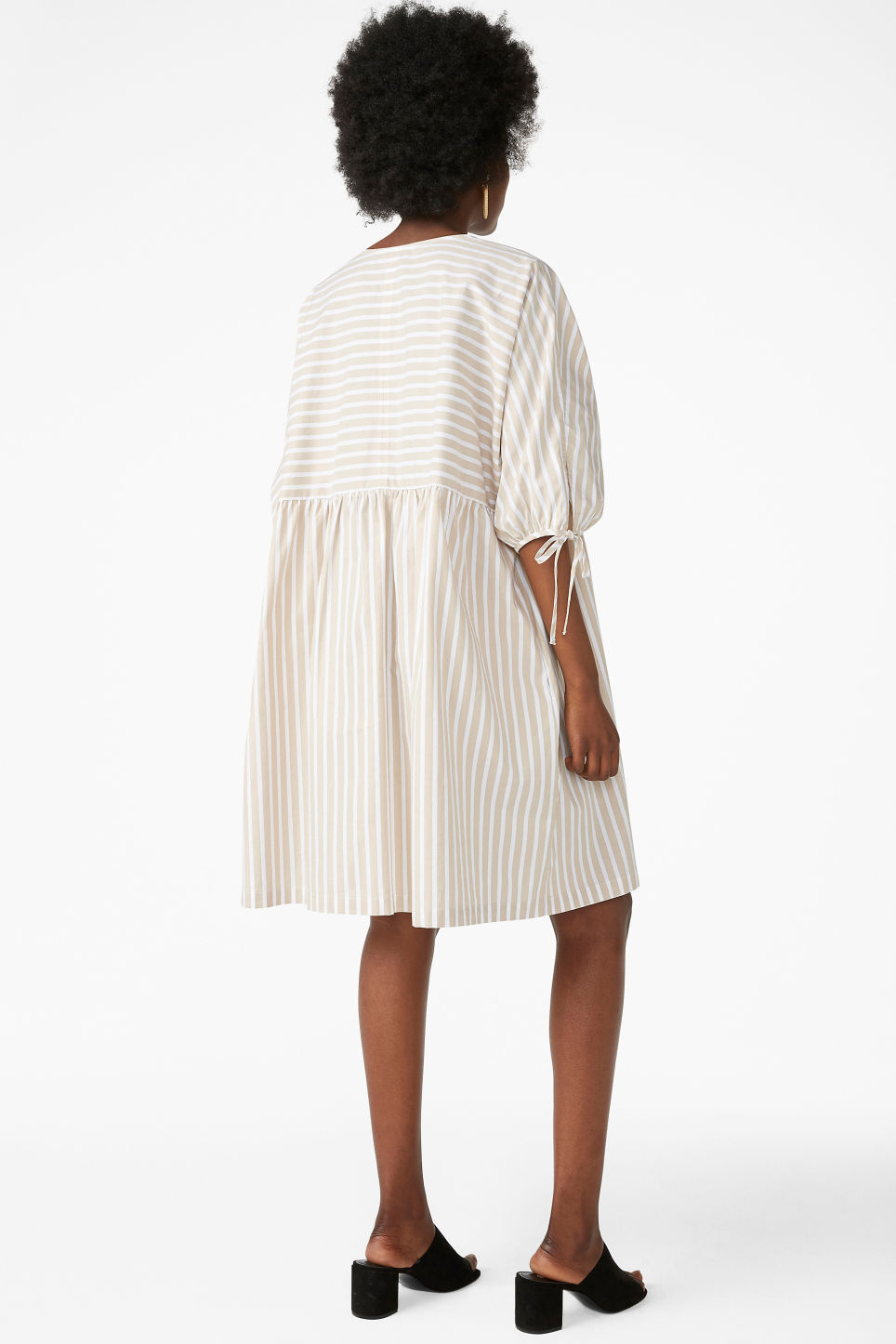 Model back image of Monki tunic dress in beige