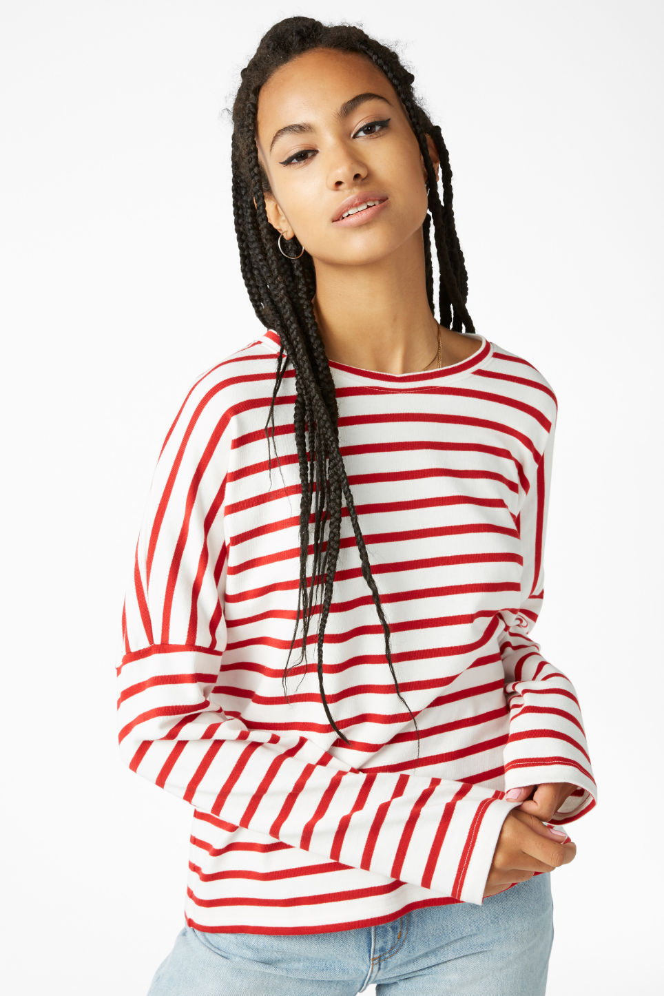 Model front image of Monki oversized top in red
