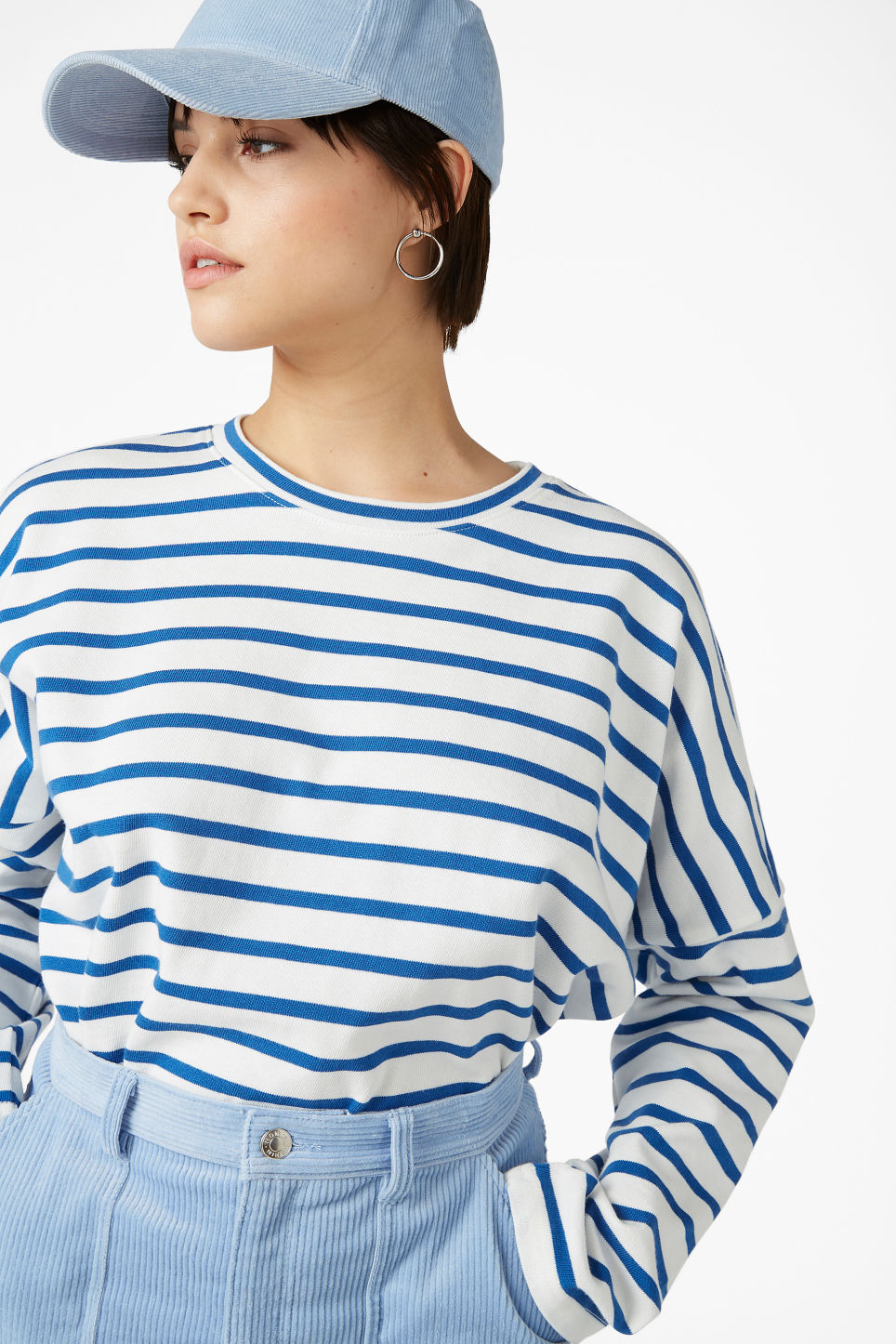 Model front image of Monki oversized top in blue