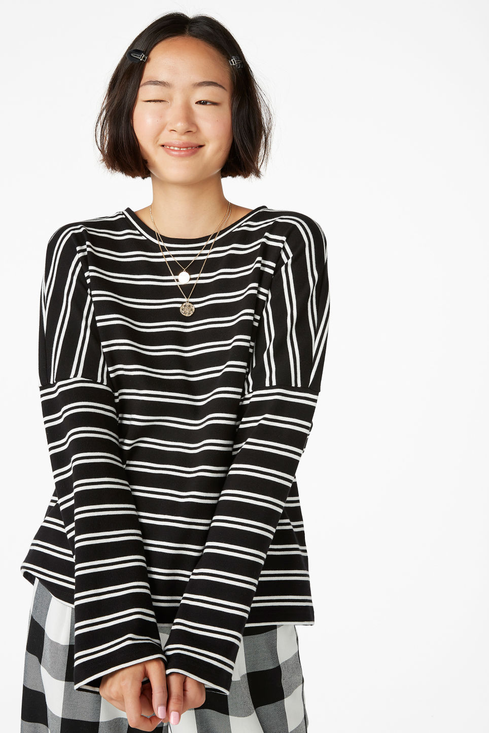 Model front image of Monki oversized top in white