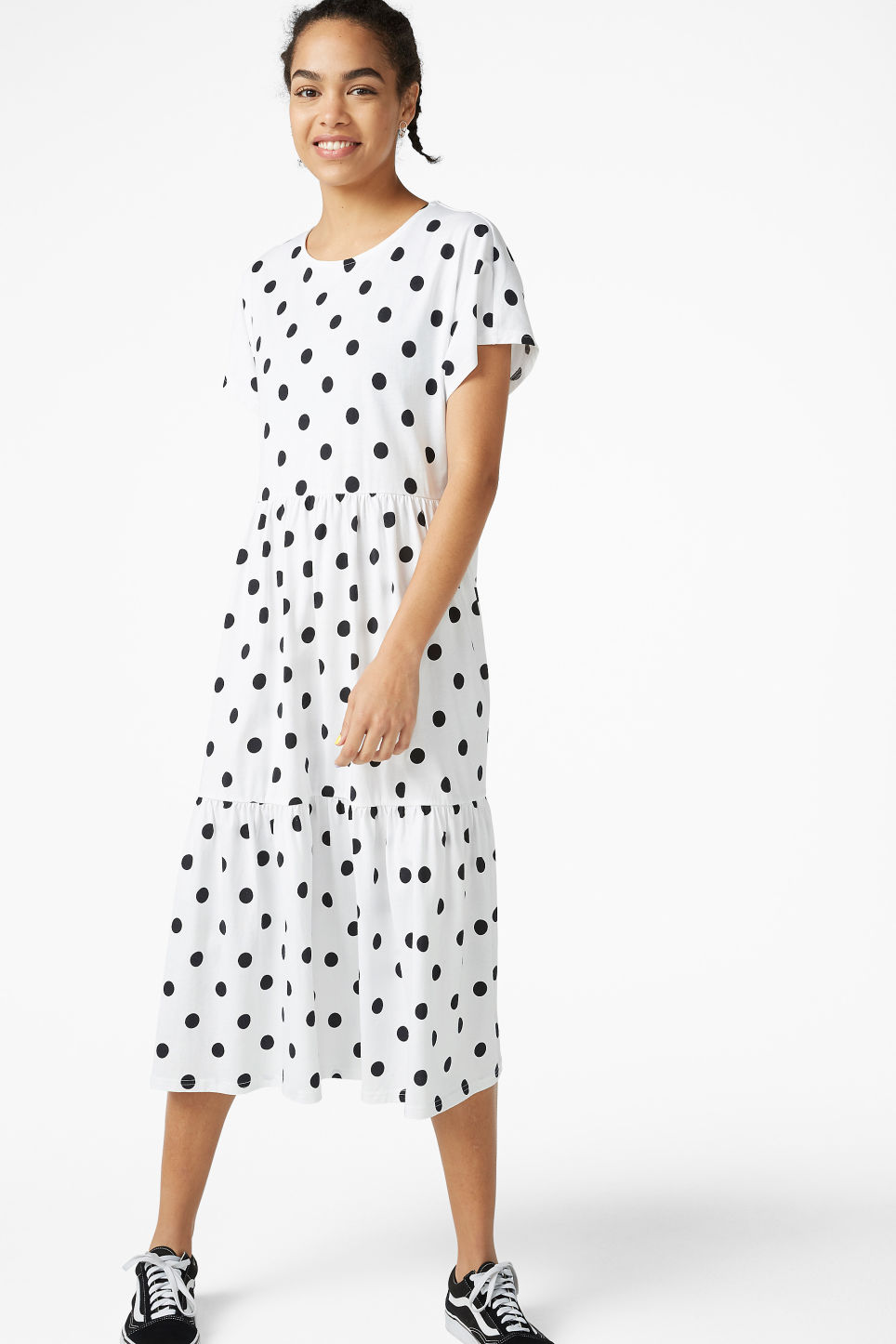 Model front image of Monki oversized t-shirt dress in white