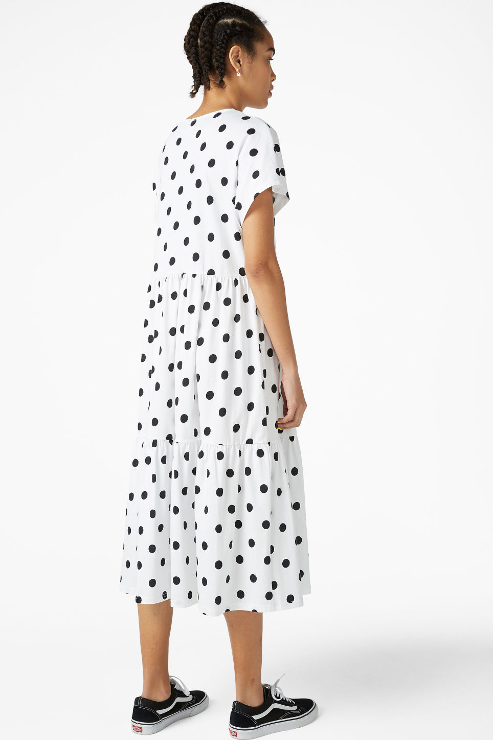 Model back image of Monki oversized t-shirt dress in white