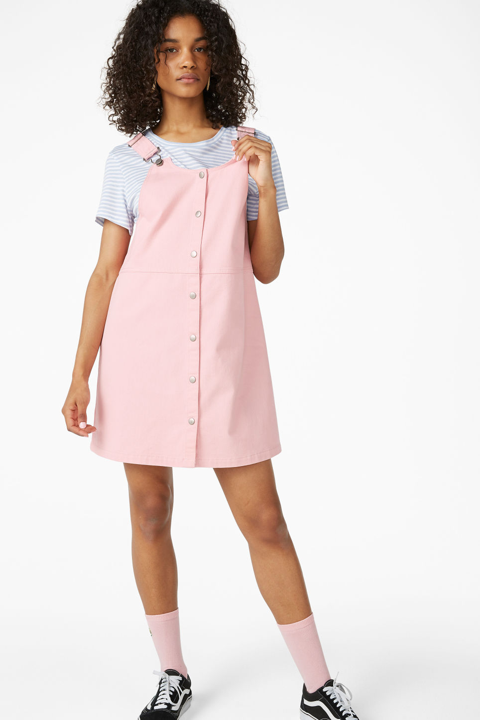 Model front image of Monki denim pinafore dress  in pink