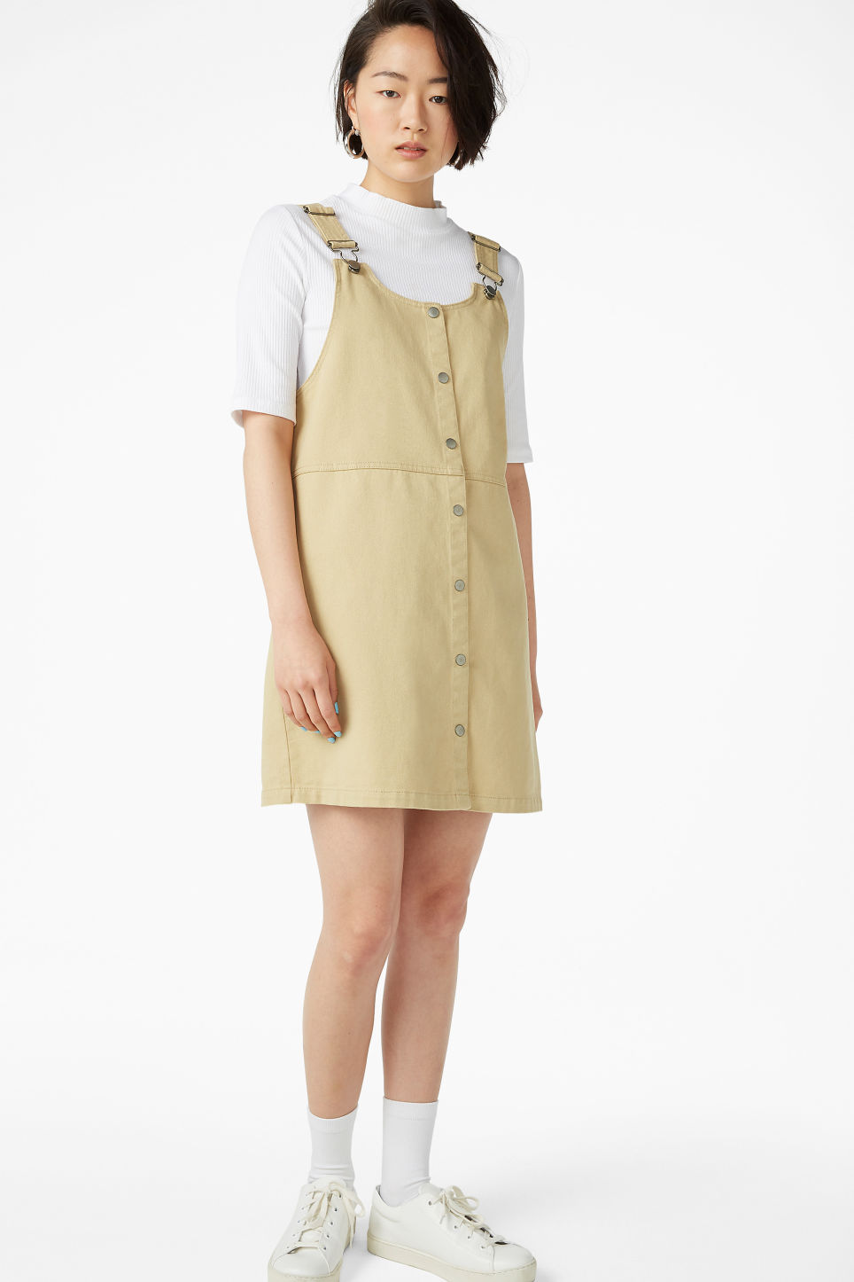 Model front image of Monki denim pinafore dress  in beige