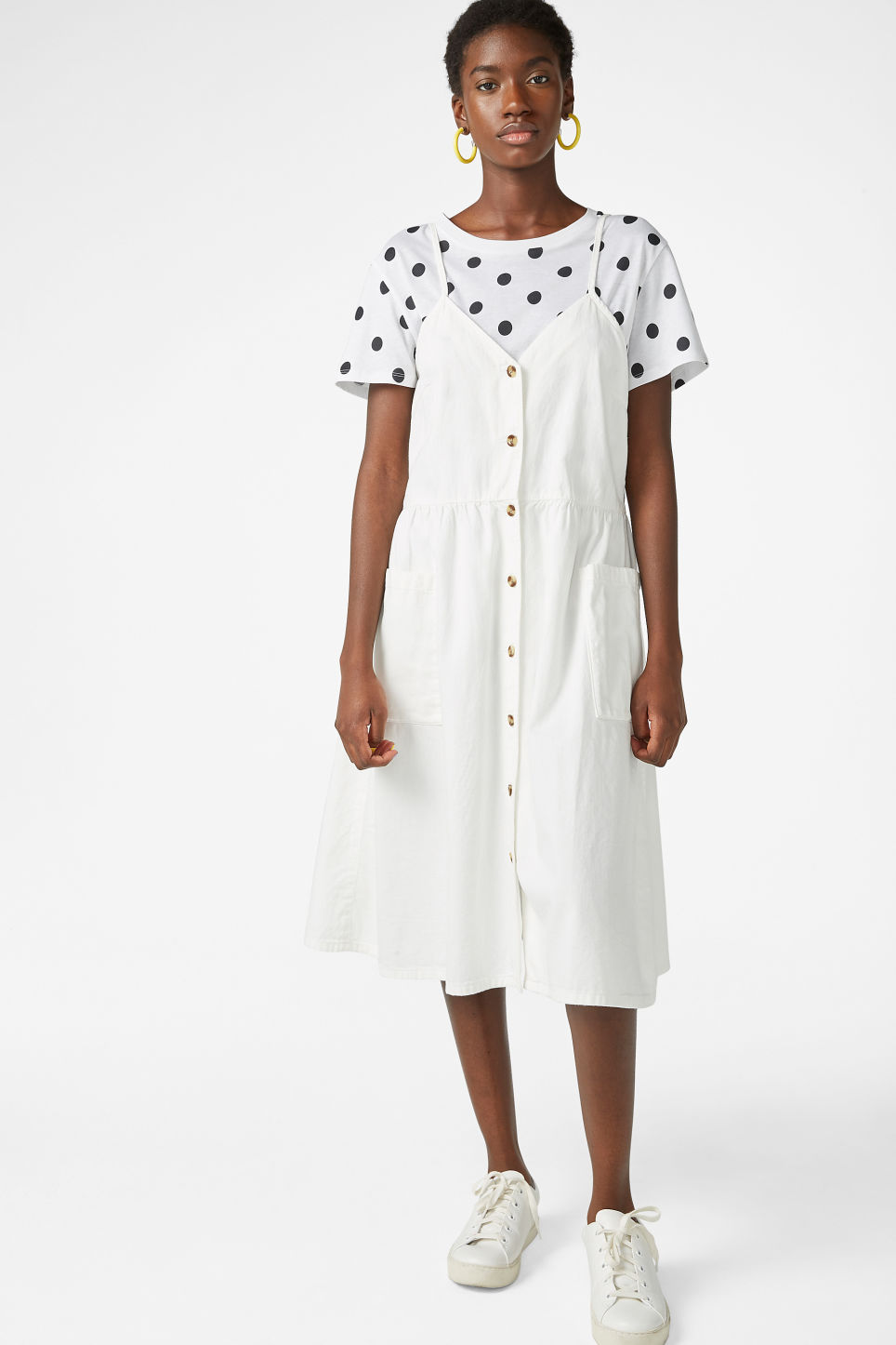 Model front image of Monki denim dress in white