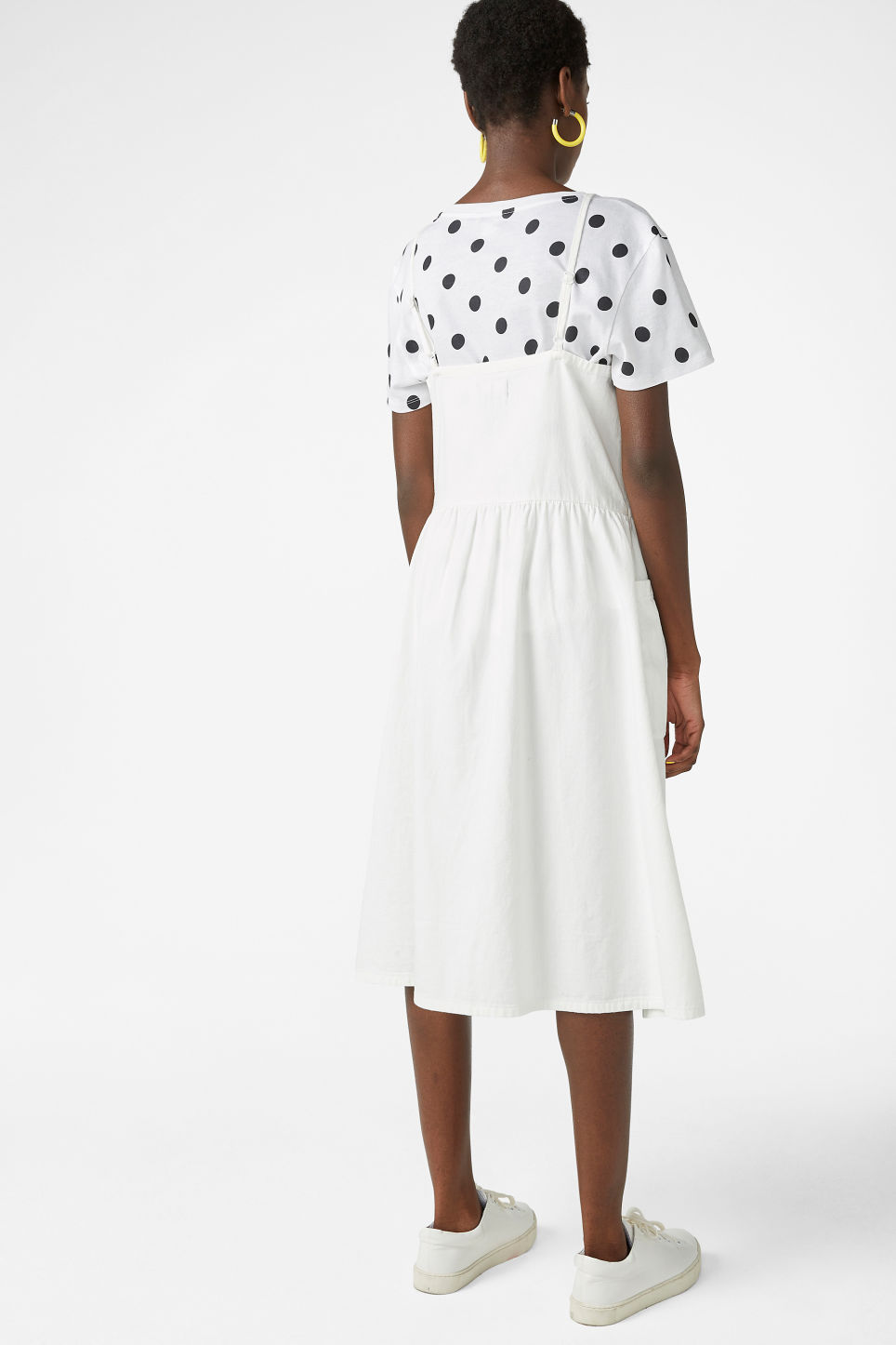Model back image of Monki denim dress in white