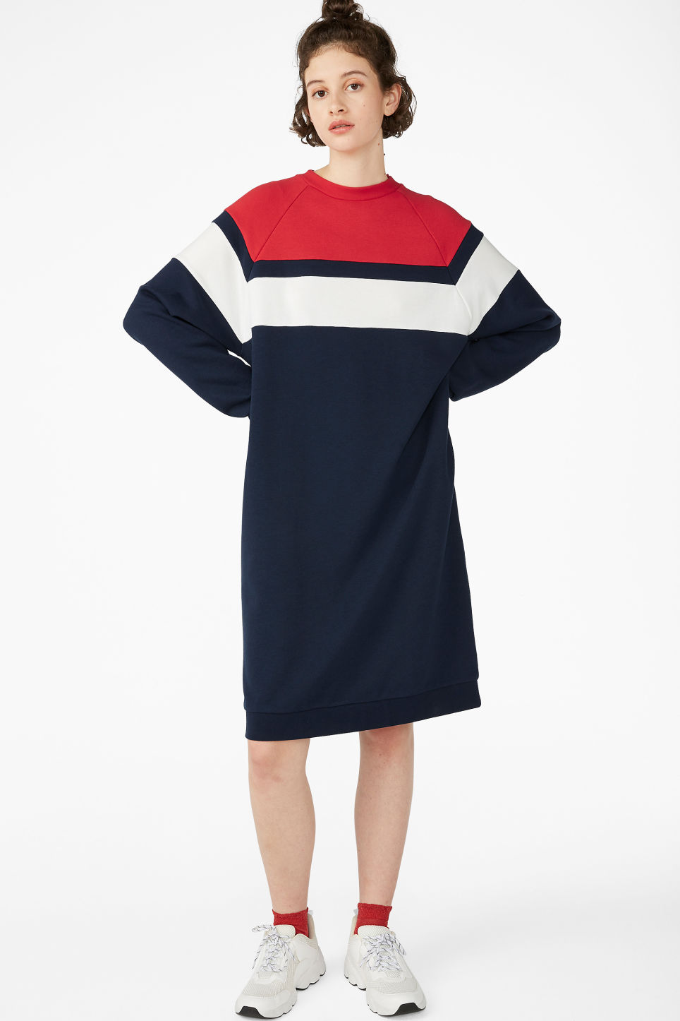 Model front image of Monki raglan sweater dress in blue