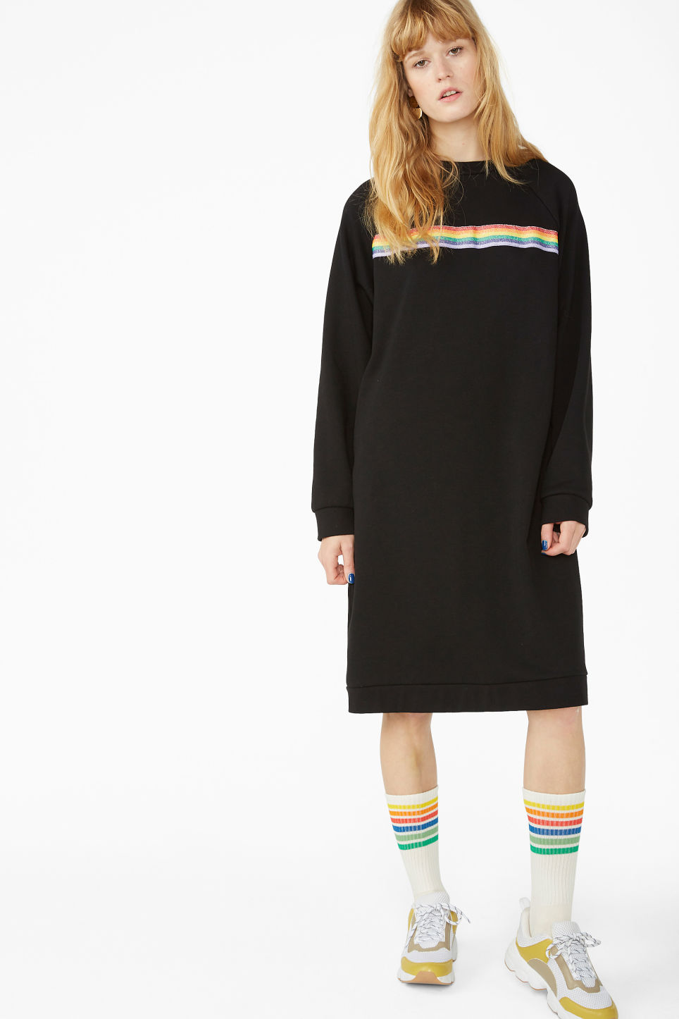 Model front image of Monki raglan sweater dress in black