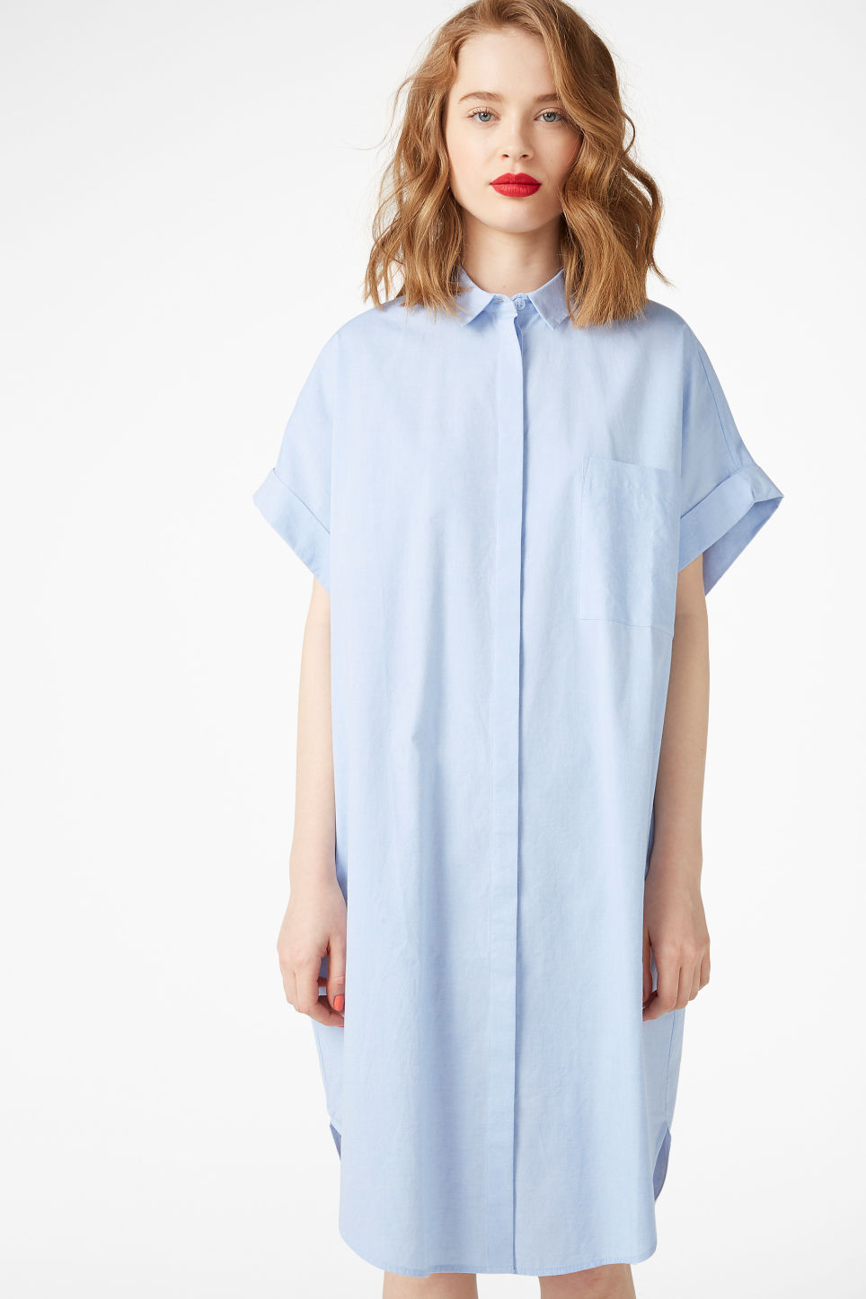 Model front image of Monki oversized shirt dress in blue