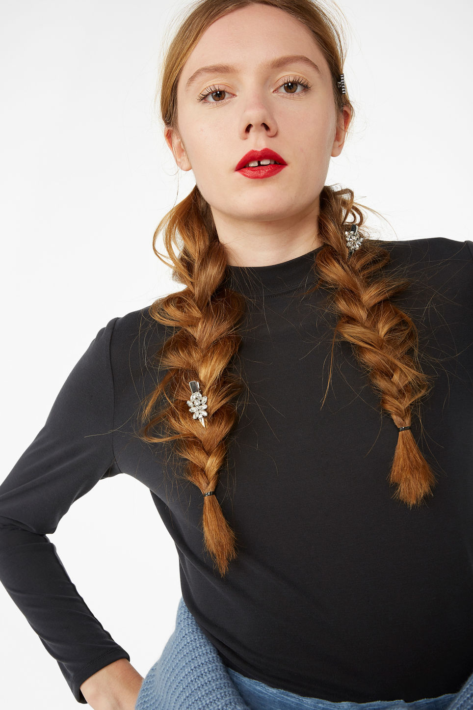 Model front image of Monki super soft high collar top  in black