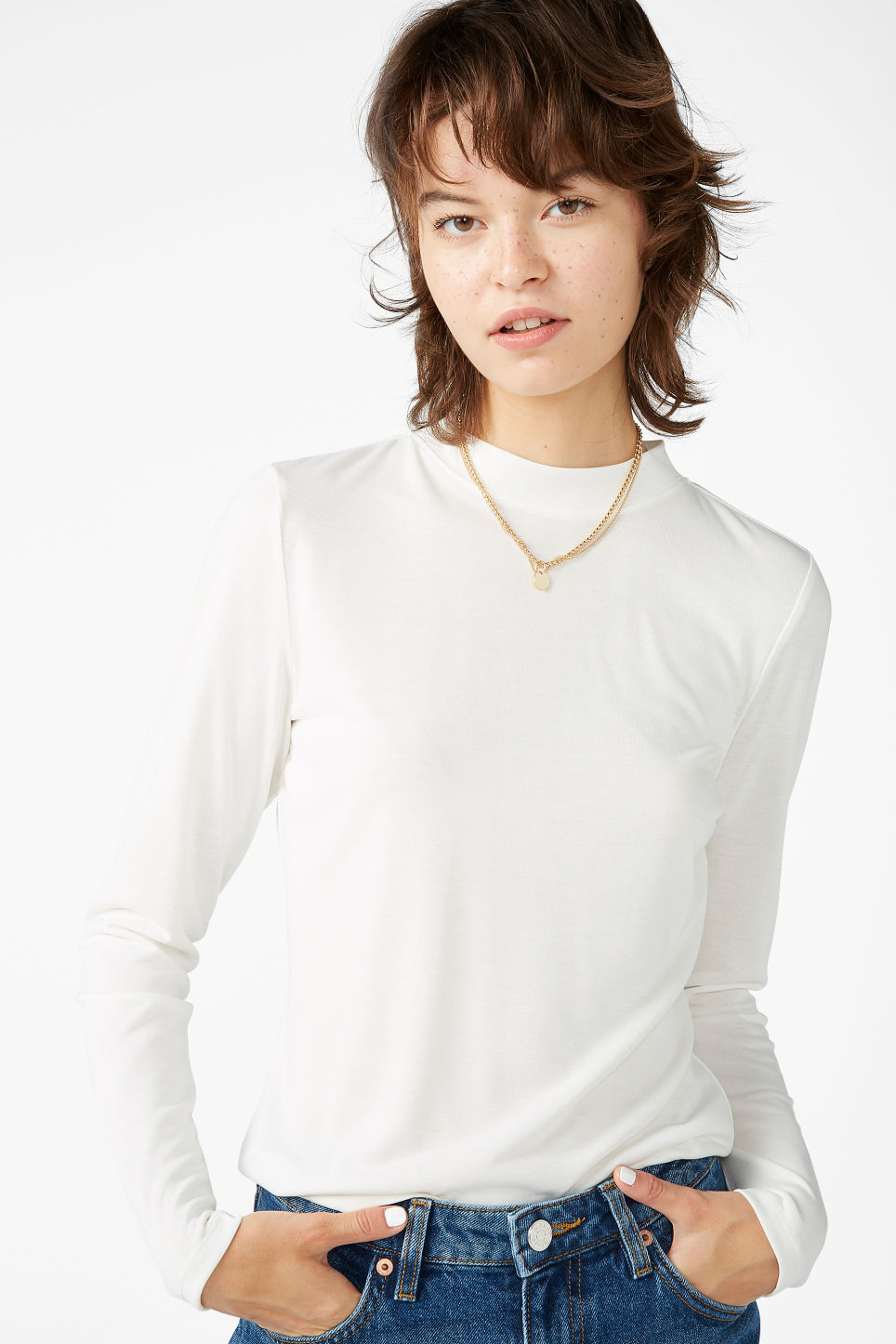 Model front image of Monki super soft modal top  in white