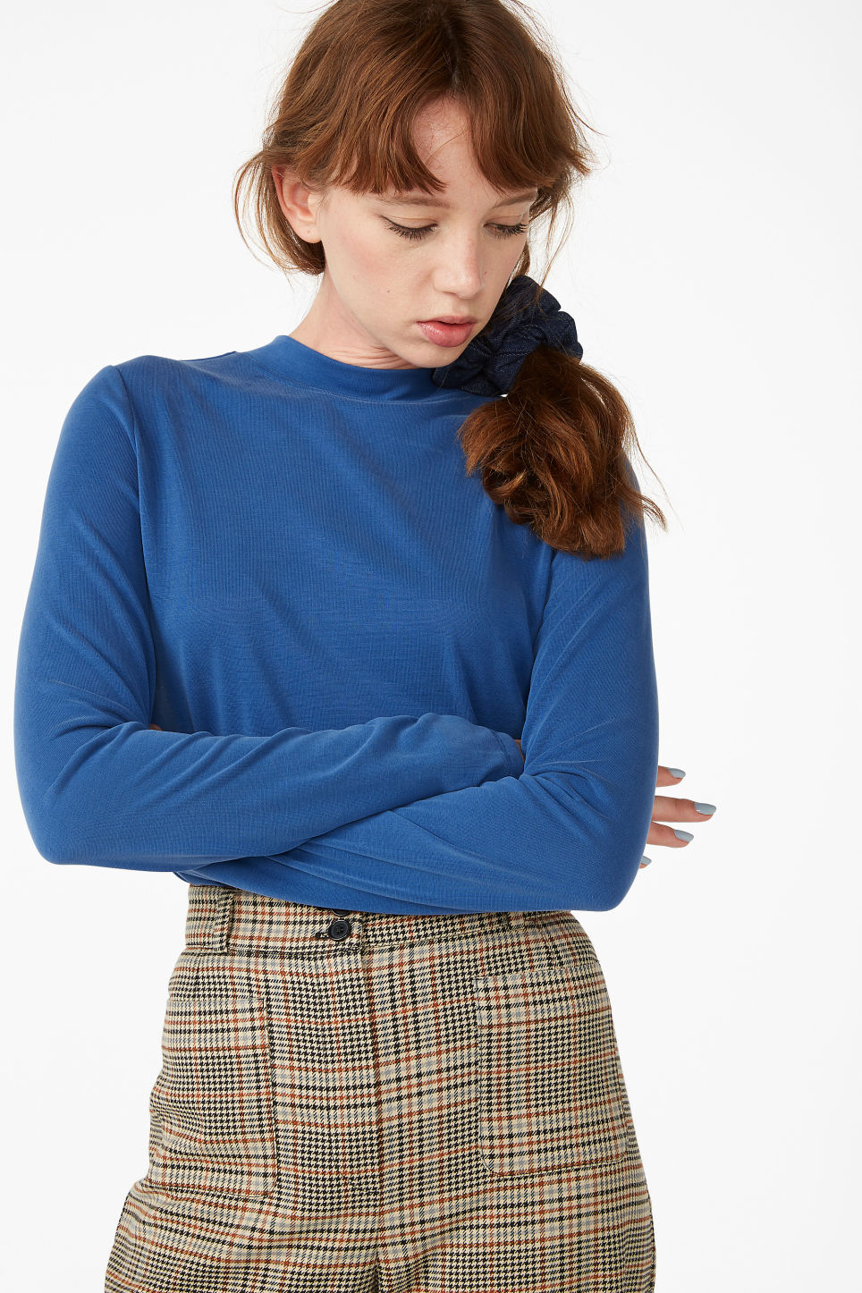 Model front image of Monki super soft high collar top  in blue