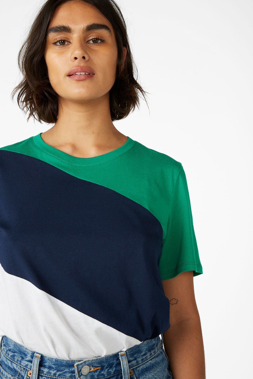 Model front image of Monki soft tee in blue