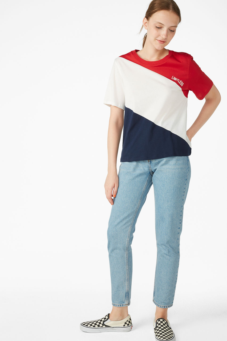 Model side image of Monki soft tee in red