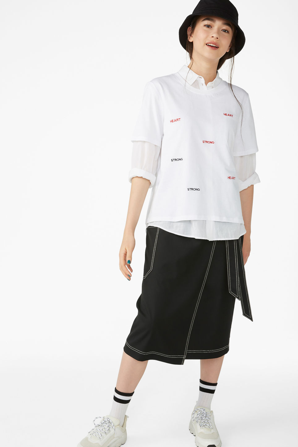 Model side image of Monki soft tee in white