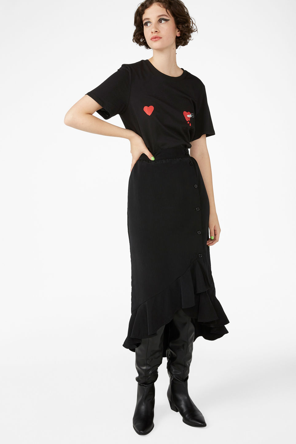 Model side image of Monki soft tee in black