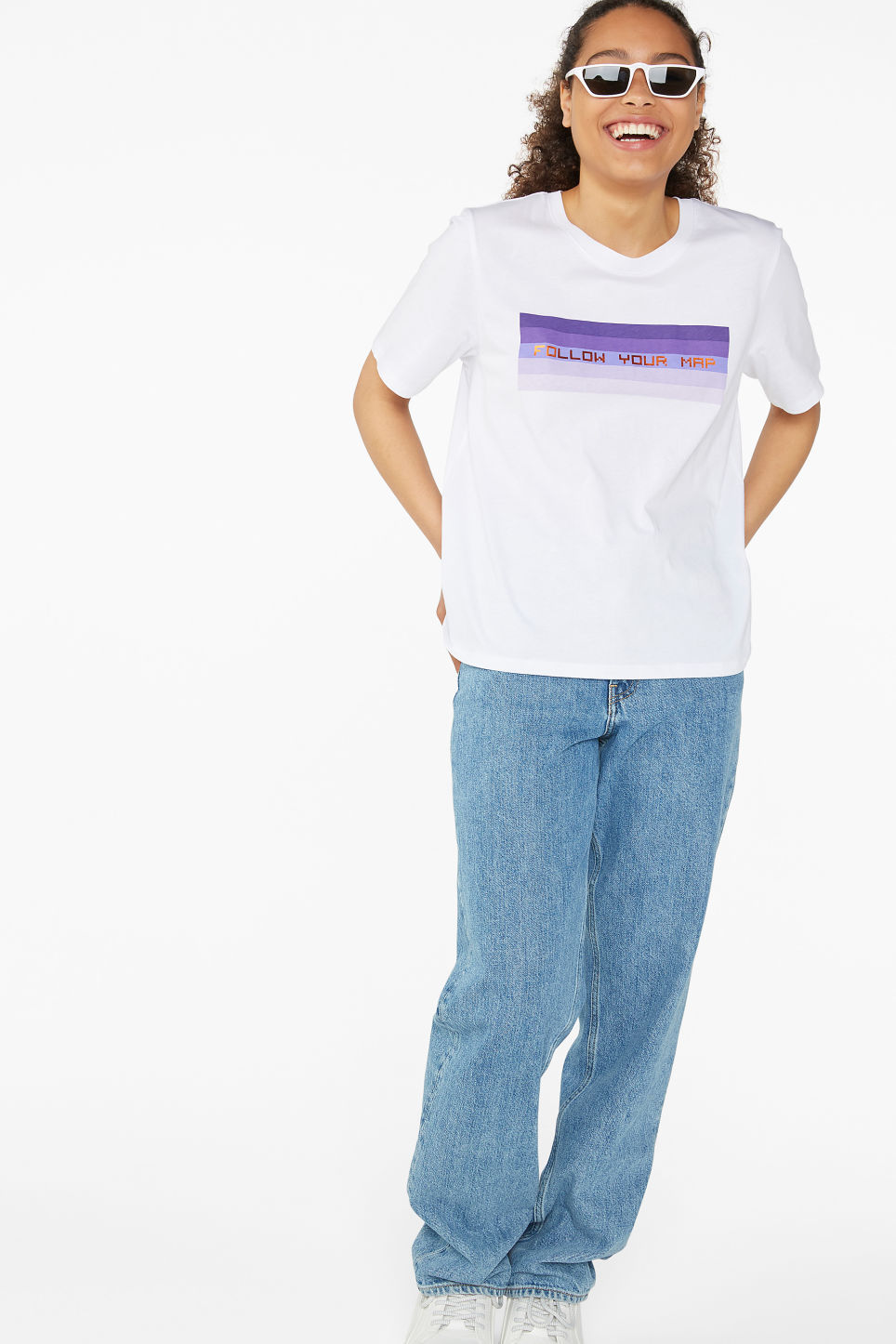 Model side image of Monki soft cotton tee in white