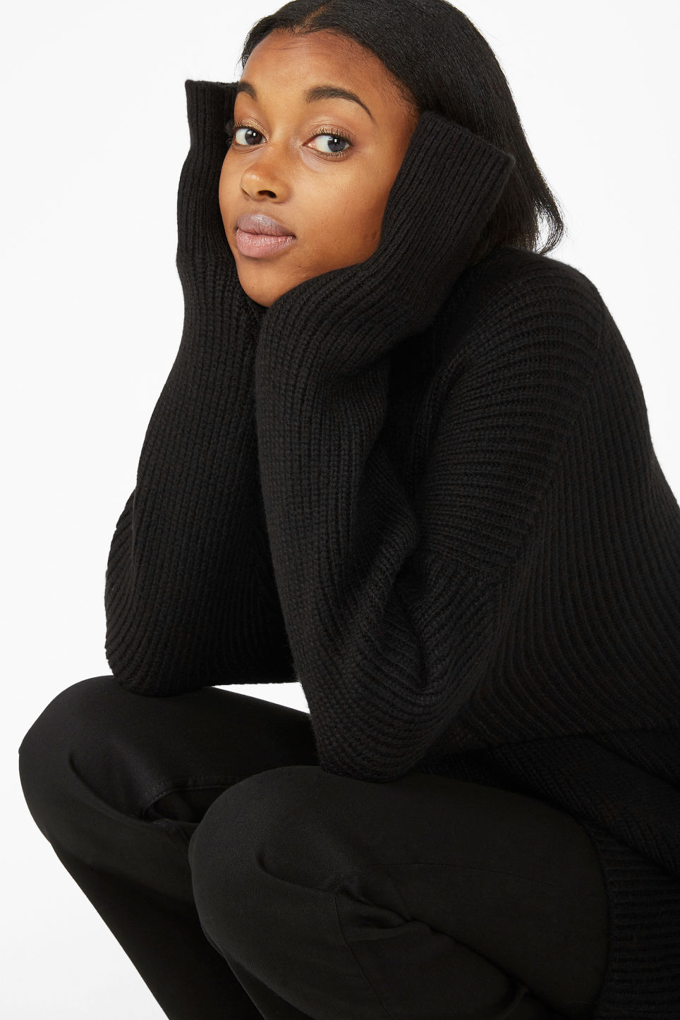 Model front image of Monki long polo neck knit in black