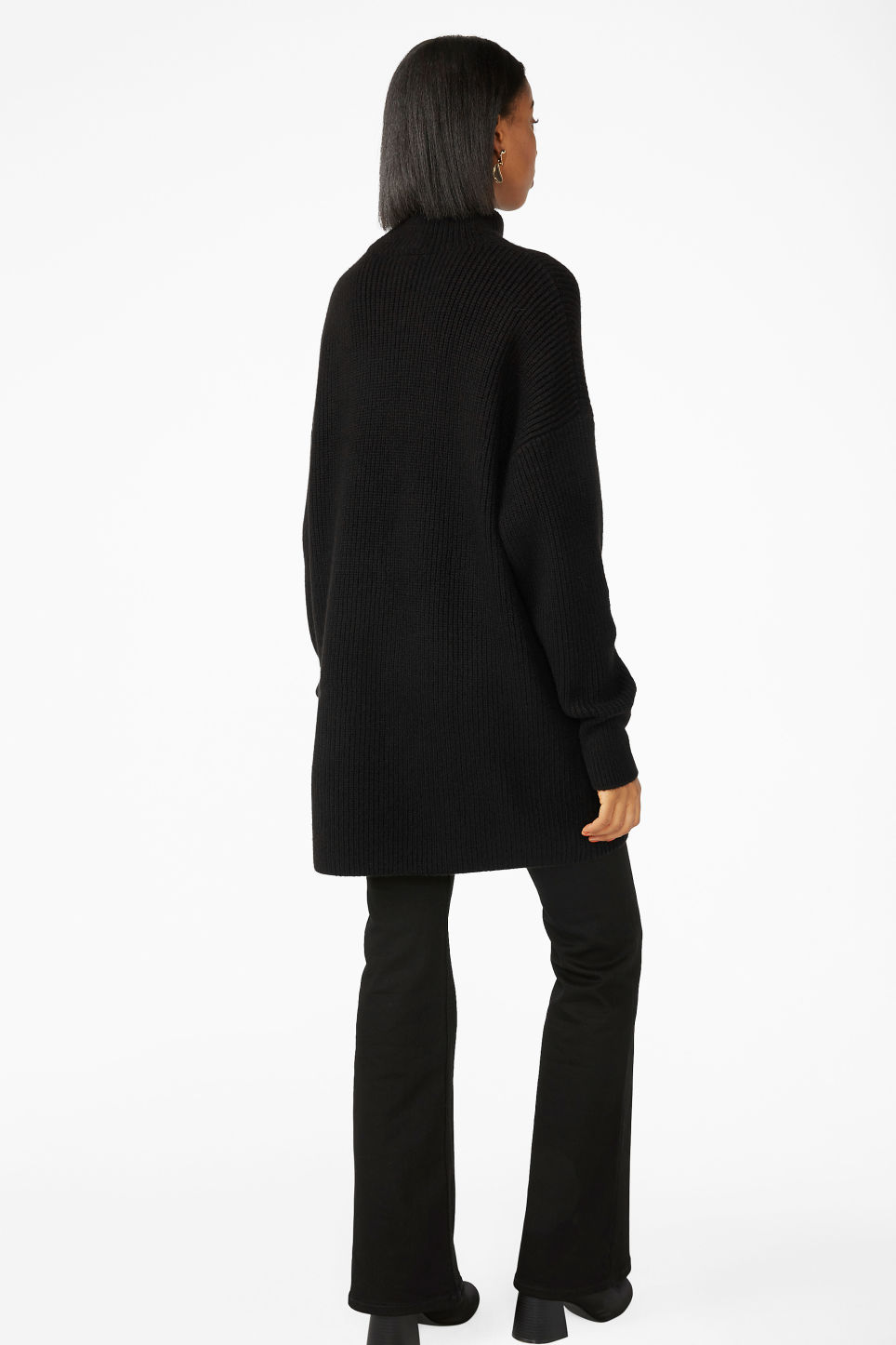 Model back image of Monki long polo neck knit in black