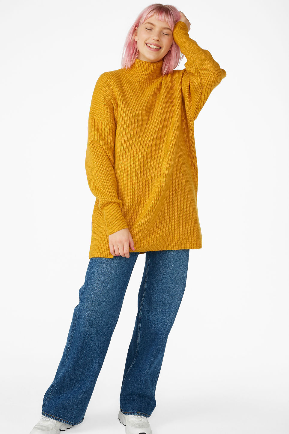 Model front image of Monki long polo neck knit in yellow