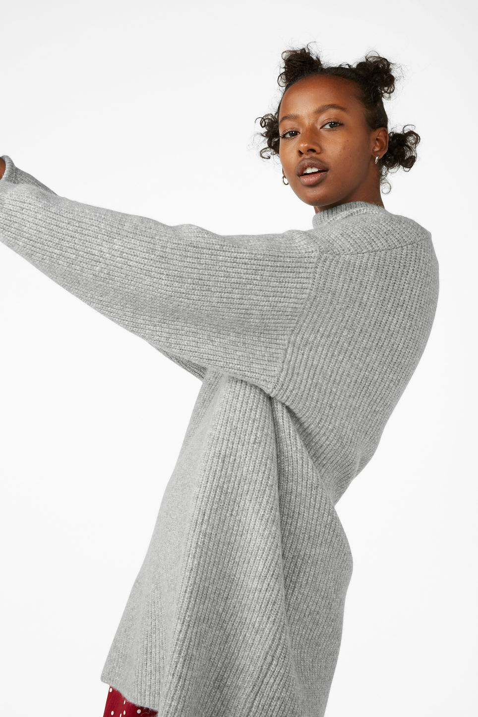 Model front image of Monki long polo neck knit in grey