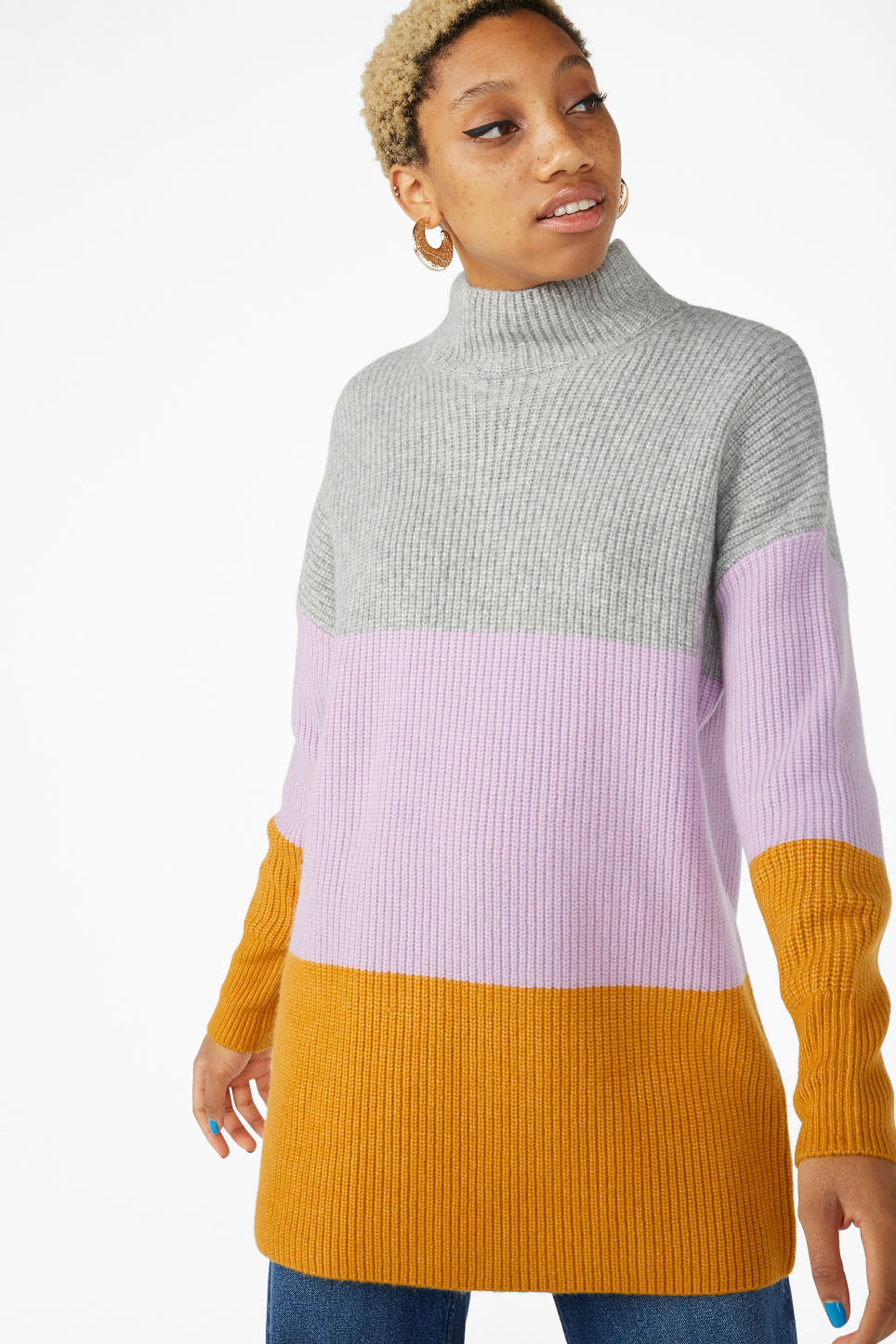 Model front image of Monki long polo neck knit in purple