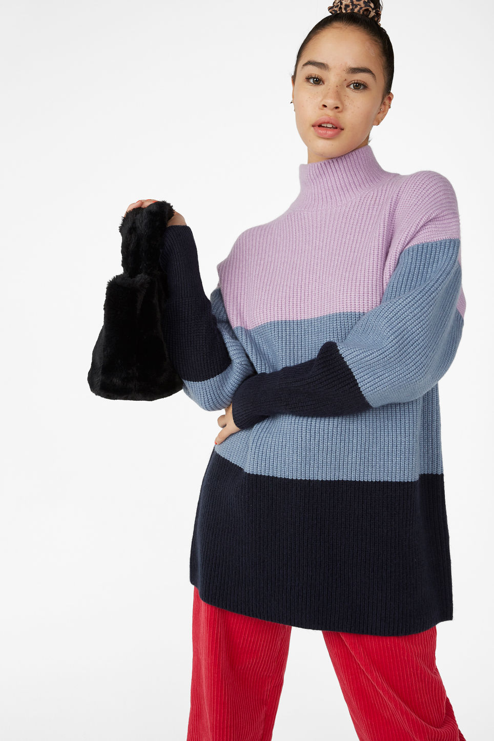 Model front image of Monki long polo neck knit in blue