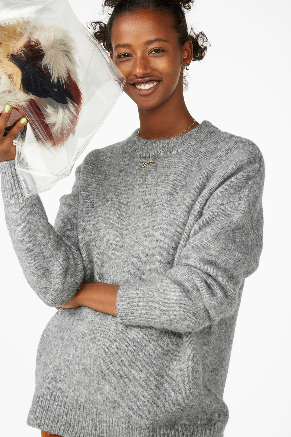 Model front image of Monki melange knit sweater in grey