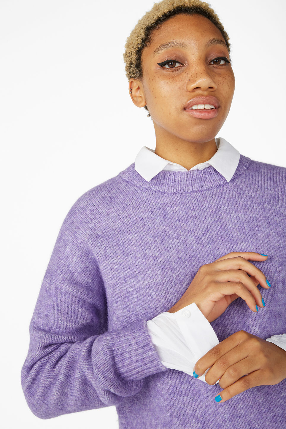Model front image of Monki melange knit sweater in purple
