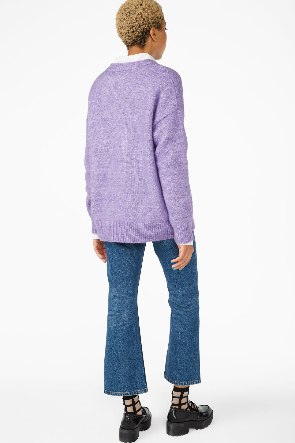 Model back image of Monki melange knit sweater in purple