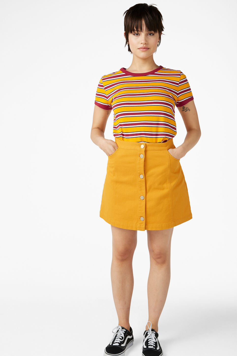 Model front image of Monki statement tee in yellow