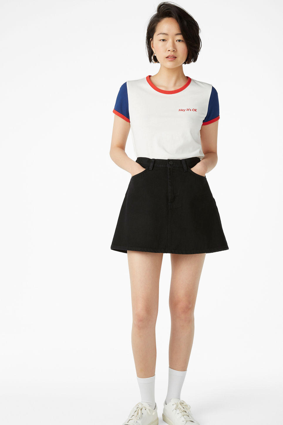 Model side image of Monki statement tee in white
