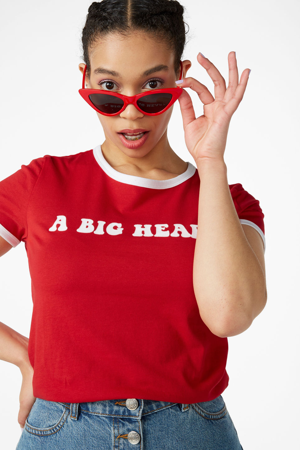 Model front image of Monki statement tee in red
