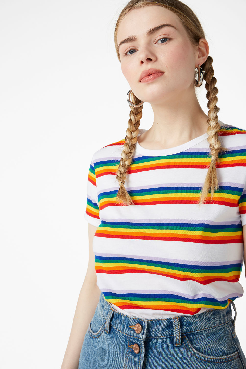 Model front image of Monki statement tee in white