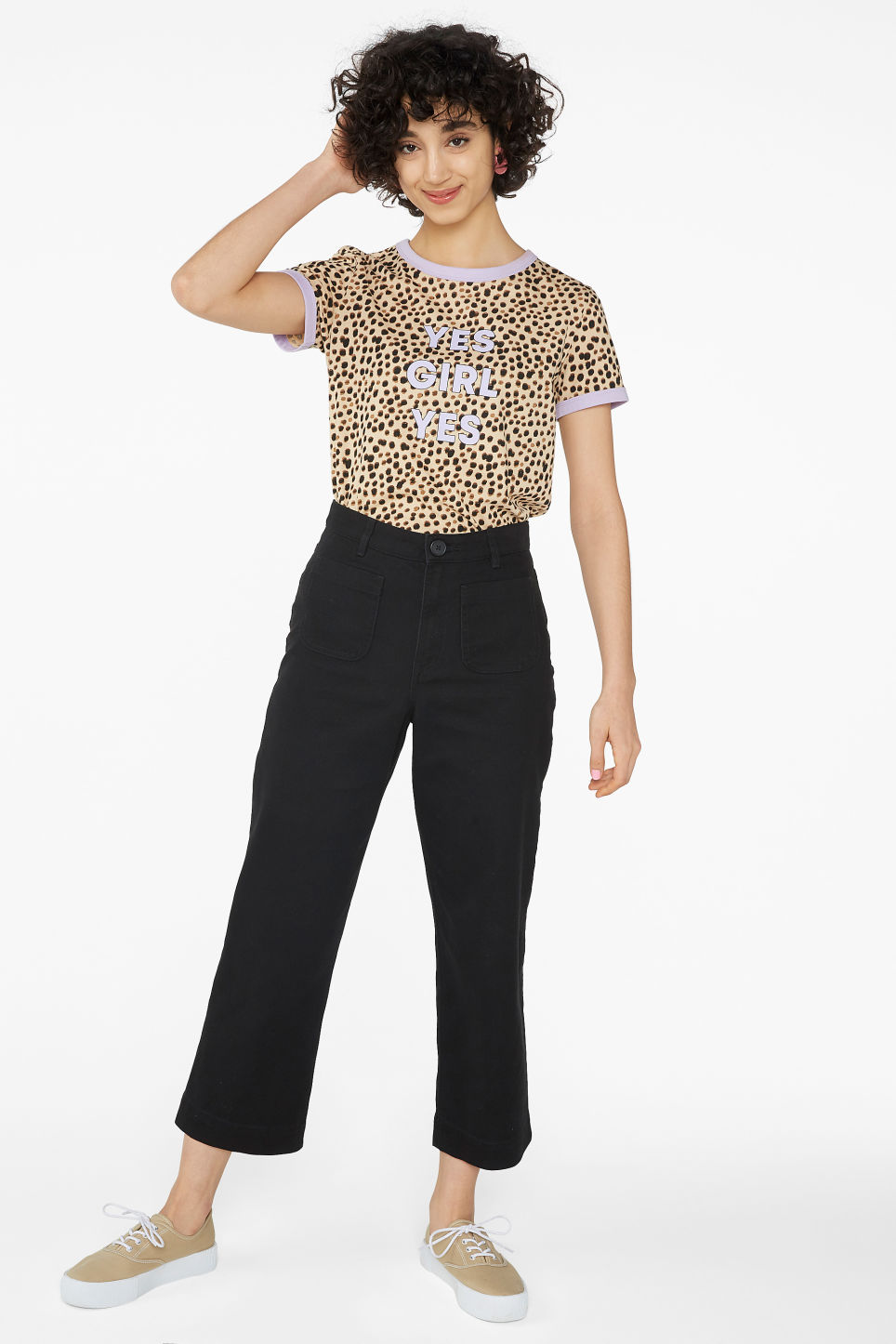 Model side image of Monki ringer tee in beige
