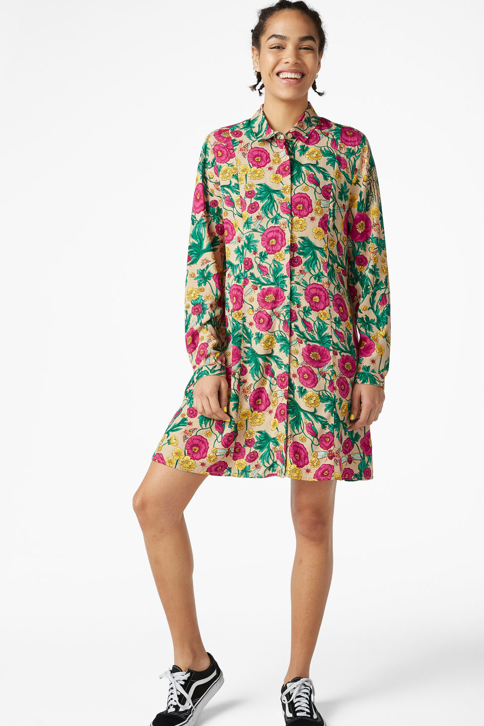 Model front image of Monki shirt dress in beige